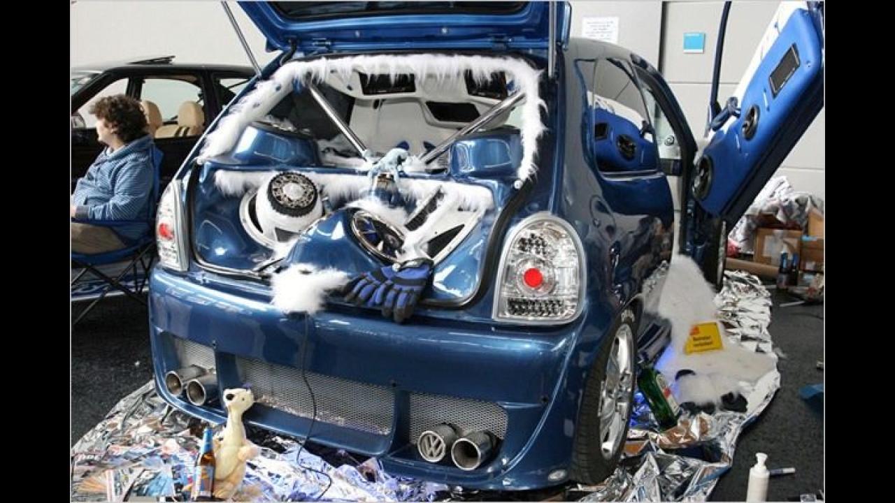 Der Besitzer dieses Opel Corsa versicherte uns, dass sein Fahrzeug jeden Tag im Einsatz ist