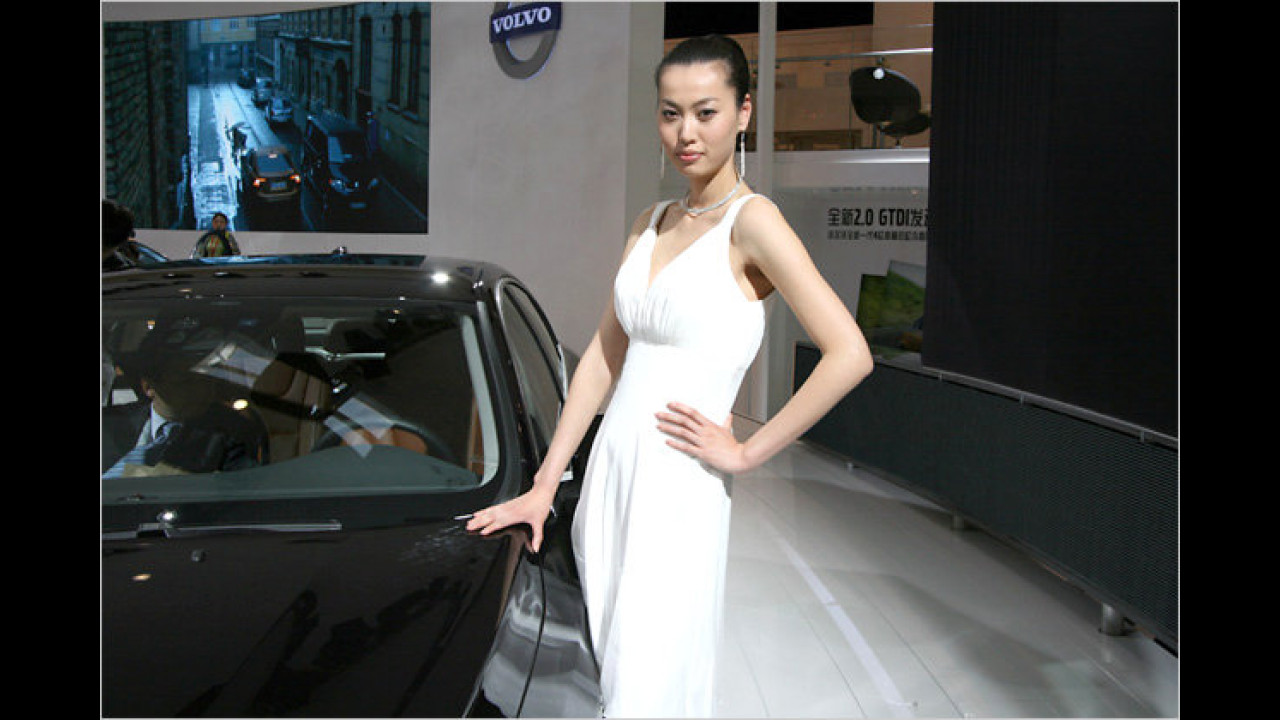 Auch bei Volvo werden die Autos von Damen bewacht