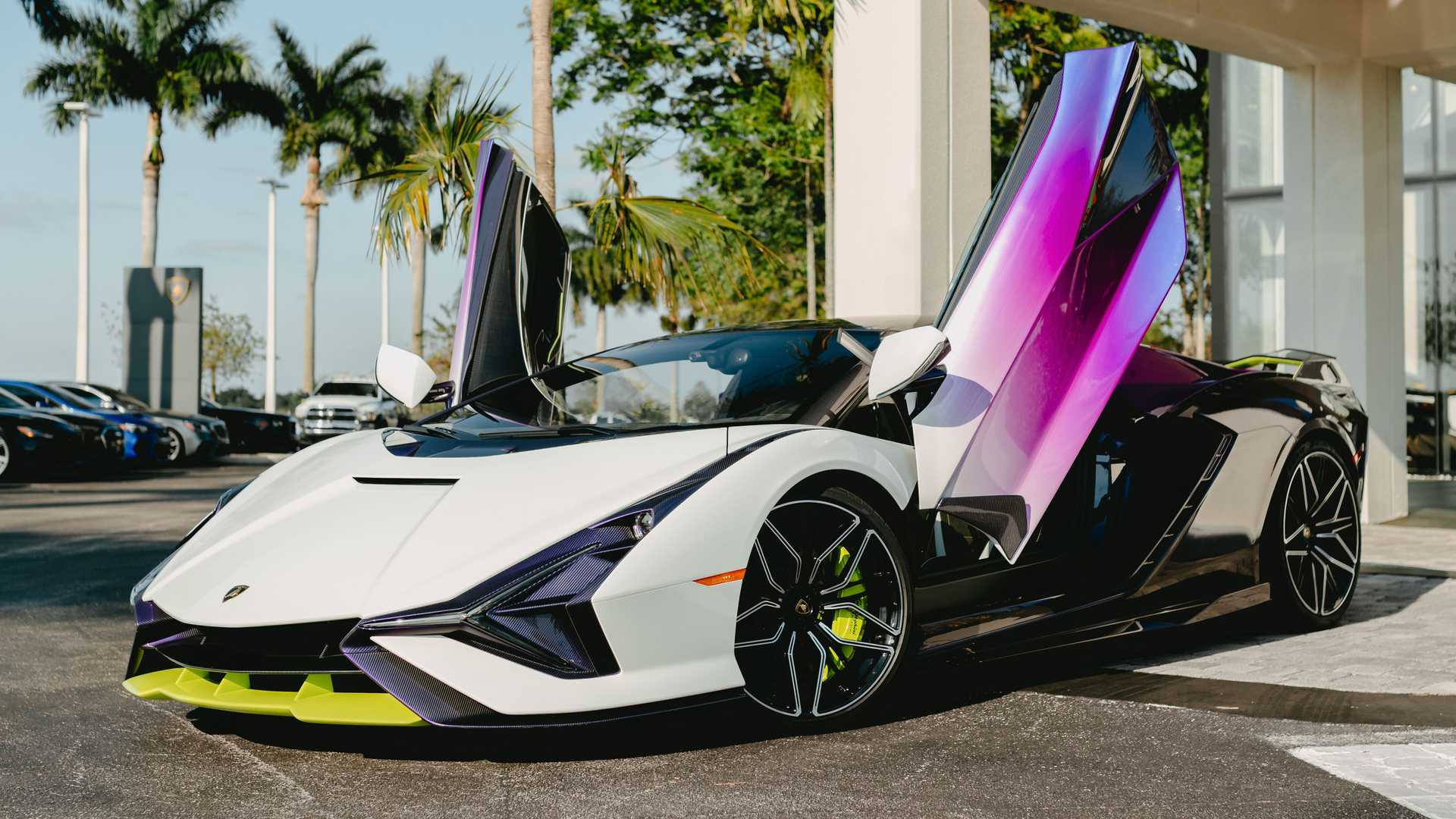 Lamborghini Sian In Purple, Green, And White Door Up Side Photo By Juan Pablo Saenz