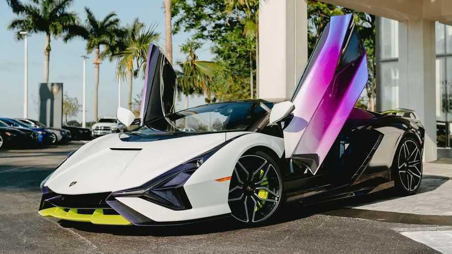 Lamborghini Sian In Purple, Green, And White