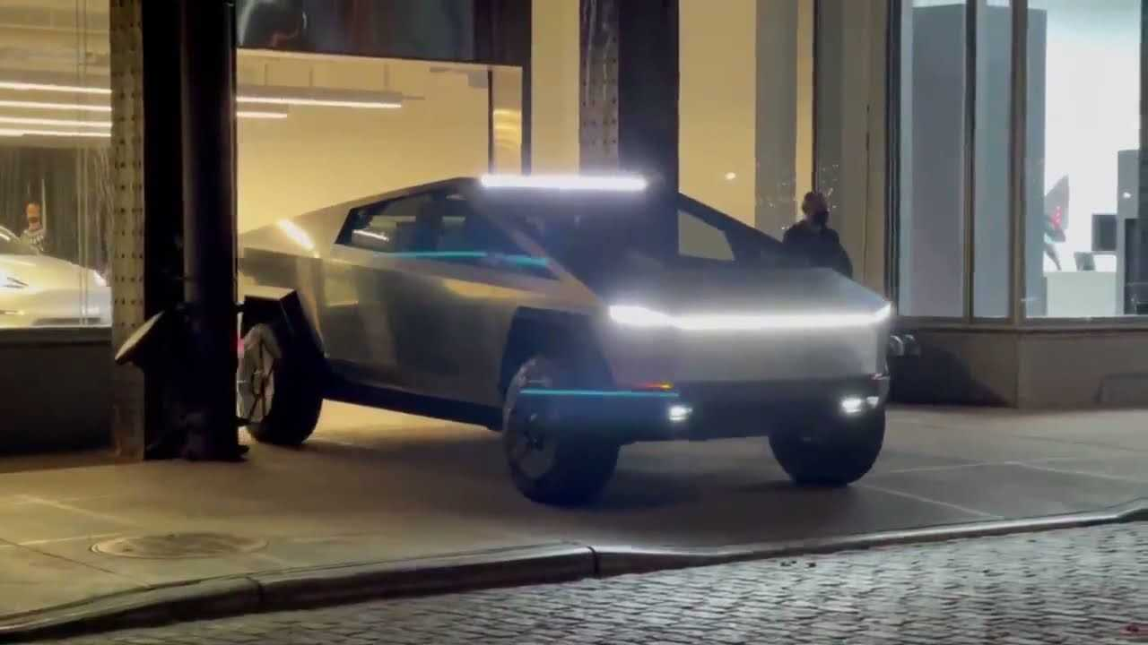 Tesla Cybertruck Prototype In New York 2021 Footage (source:  All Guides)