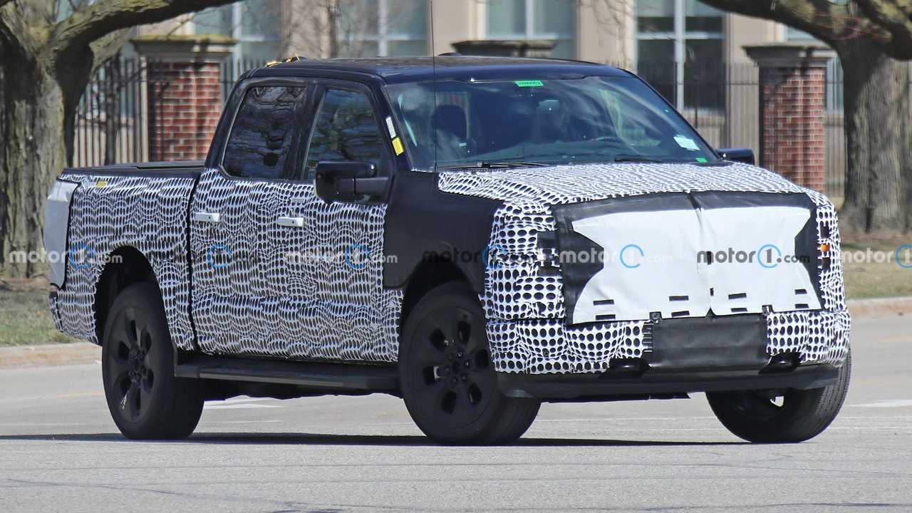 A prototype Ford F-150 electric vehicle is caught on the streets in Detroit.
