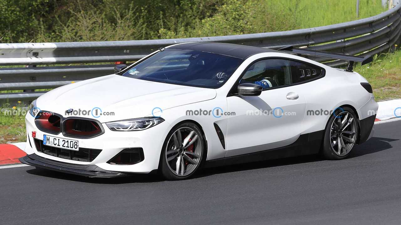 BMW M8 CSL spied at the Nurburgring race track.