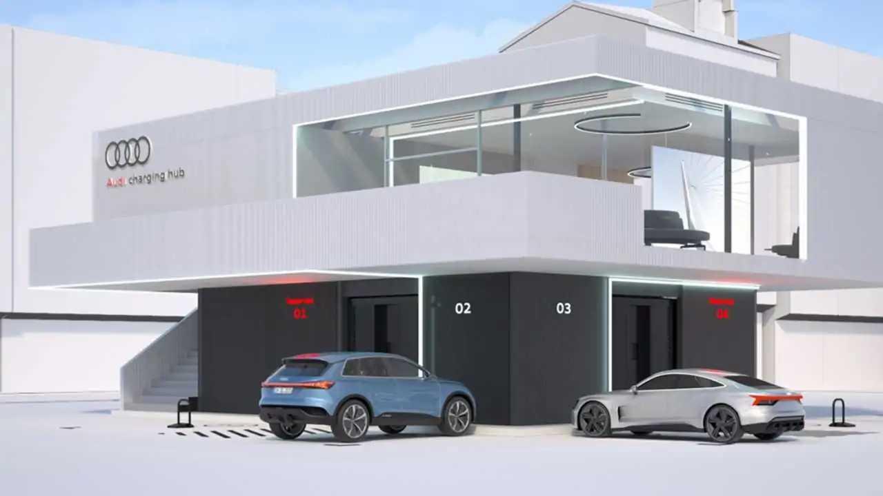 Audi charging hub: Eine Schnellladestation mit angeschlossener Lounge