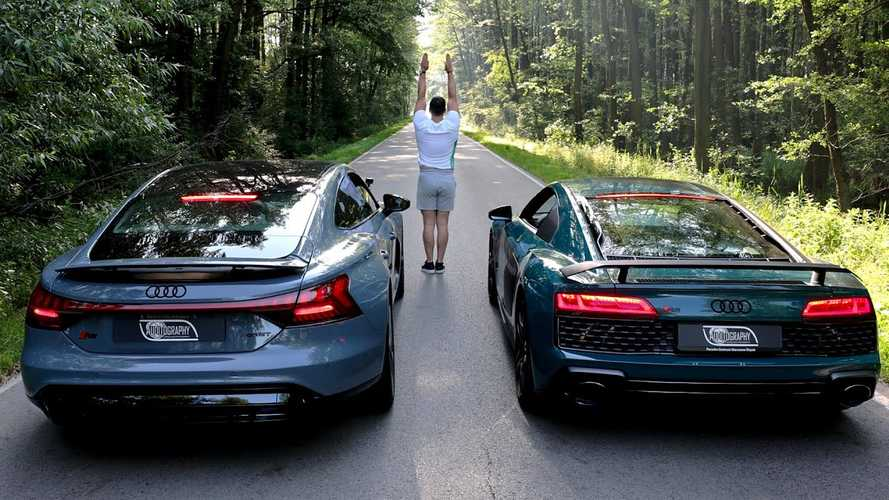 Watch Audi RS E-Tron GT Keep R8 At Bay In Drag Race