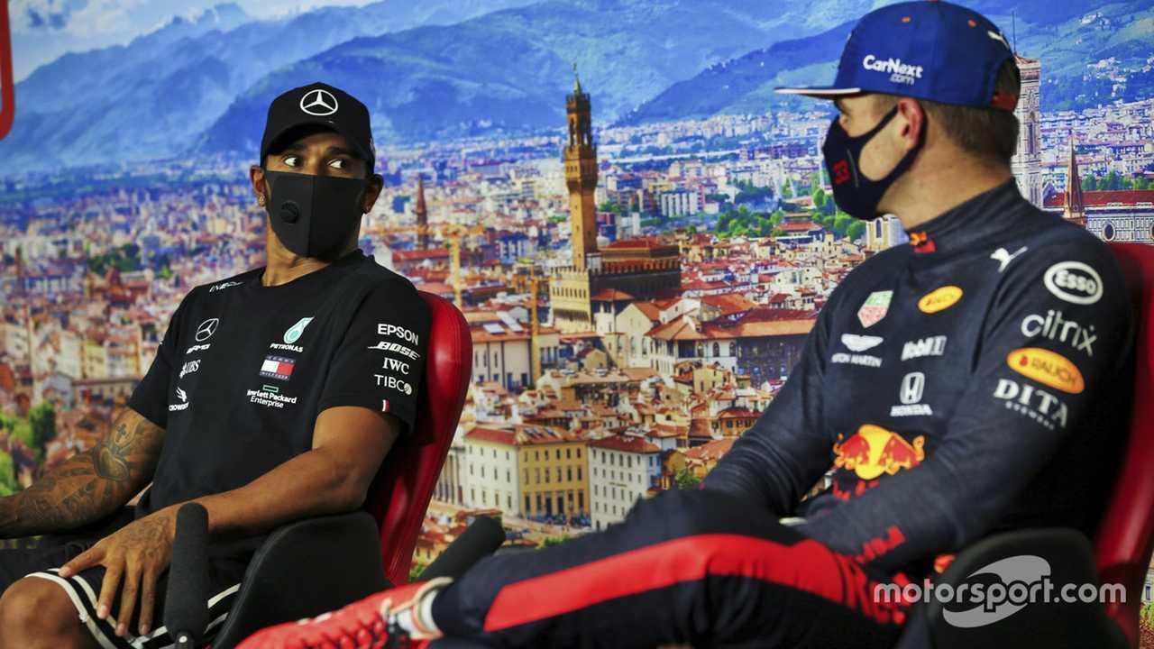 Lewis Hamilton and Max Verstappen at Tuscany GP 2020
