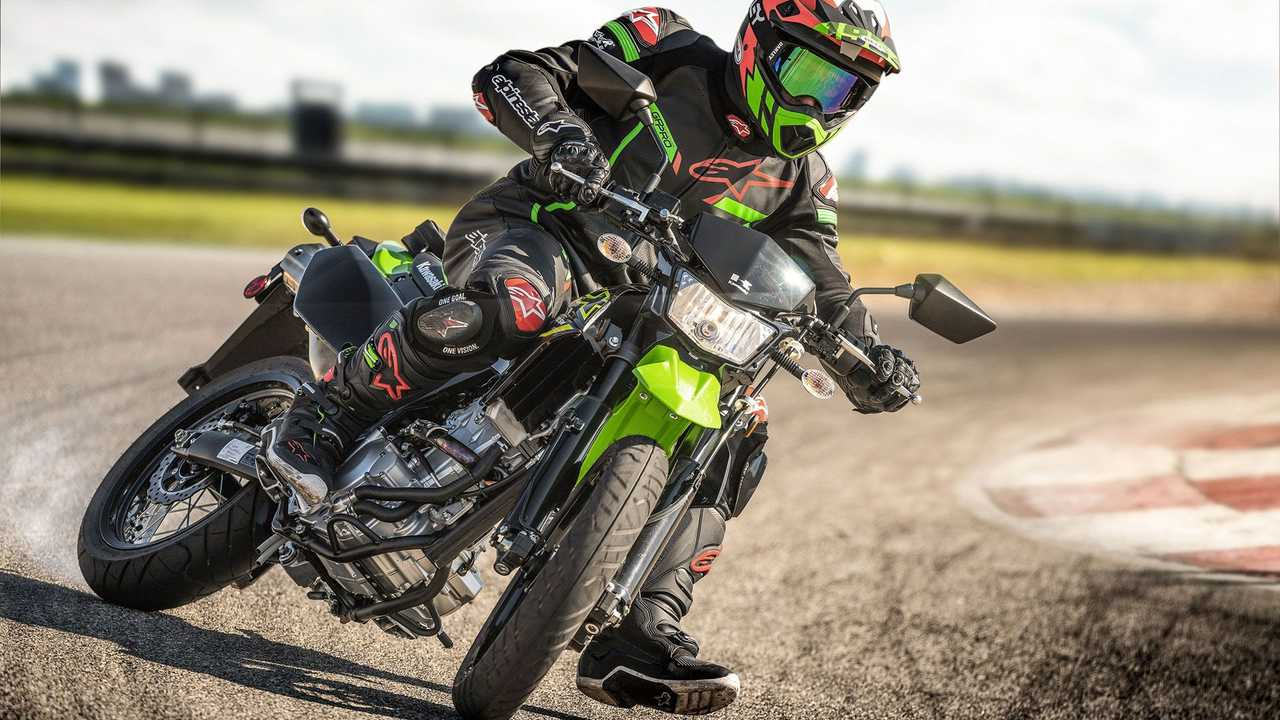 2021 Kawasaki KLX300SM, Action, Track, Lean Left