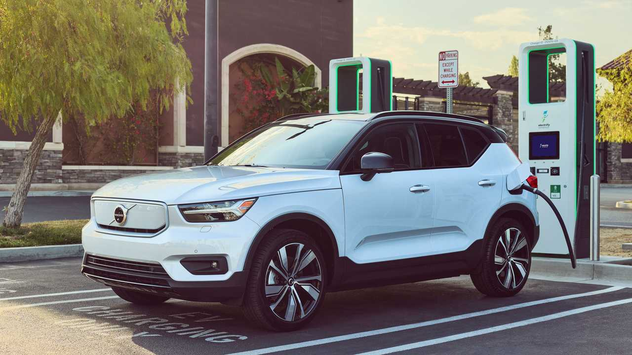 Volvo XC40 Recharge fast charging at a Electrify America station