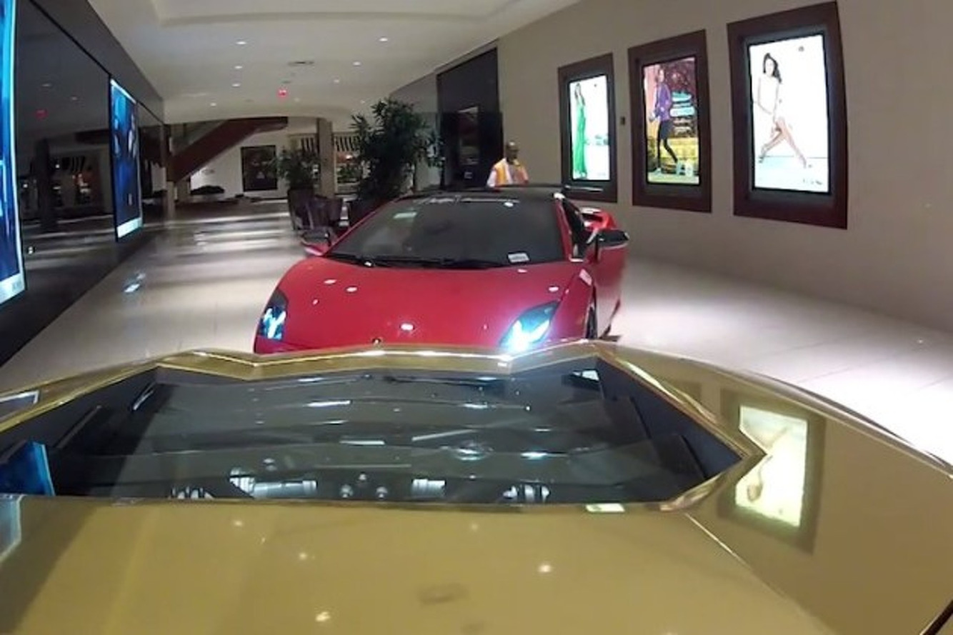 Here S 5 Lamborghinis Driving Through A Shopping Mall Video