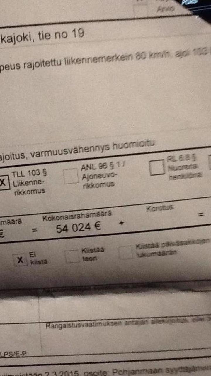 Reima Kuisla speeding fine