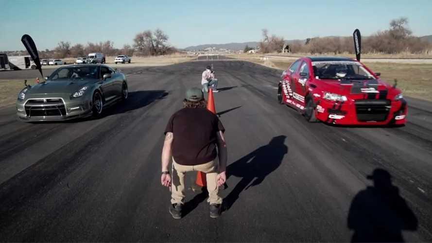 Egy tuningolt Nissan GT-R egy tuningolt Mitsubishi Lancer ellen: ki a gyorsabb?