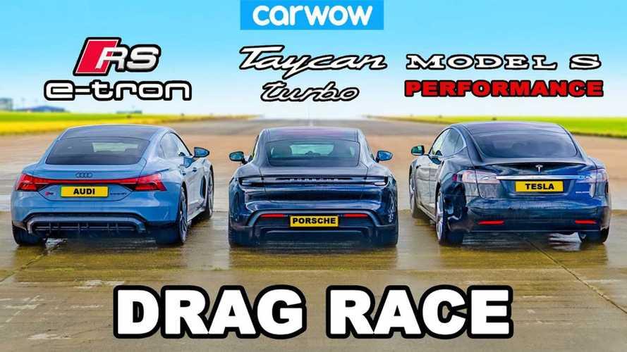 Audi E-Tron GT RS, Porsche Taycan Turbo, Tesla Model S In Epic Drag Race