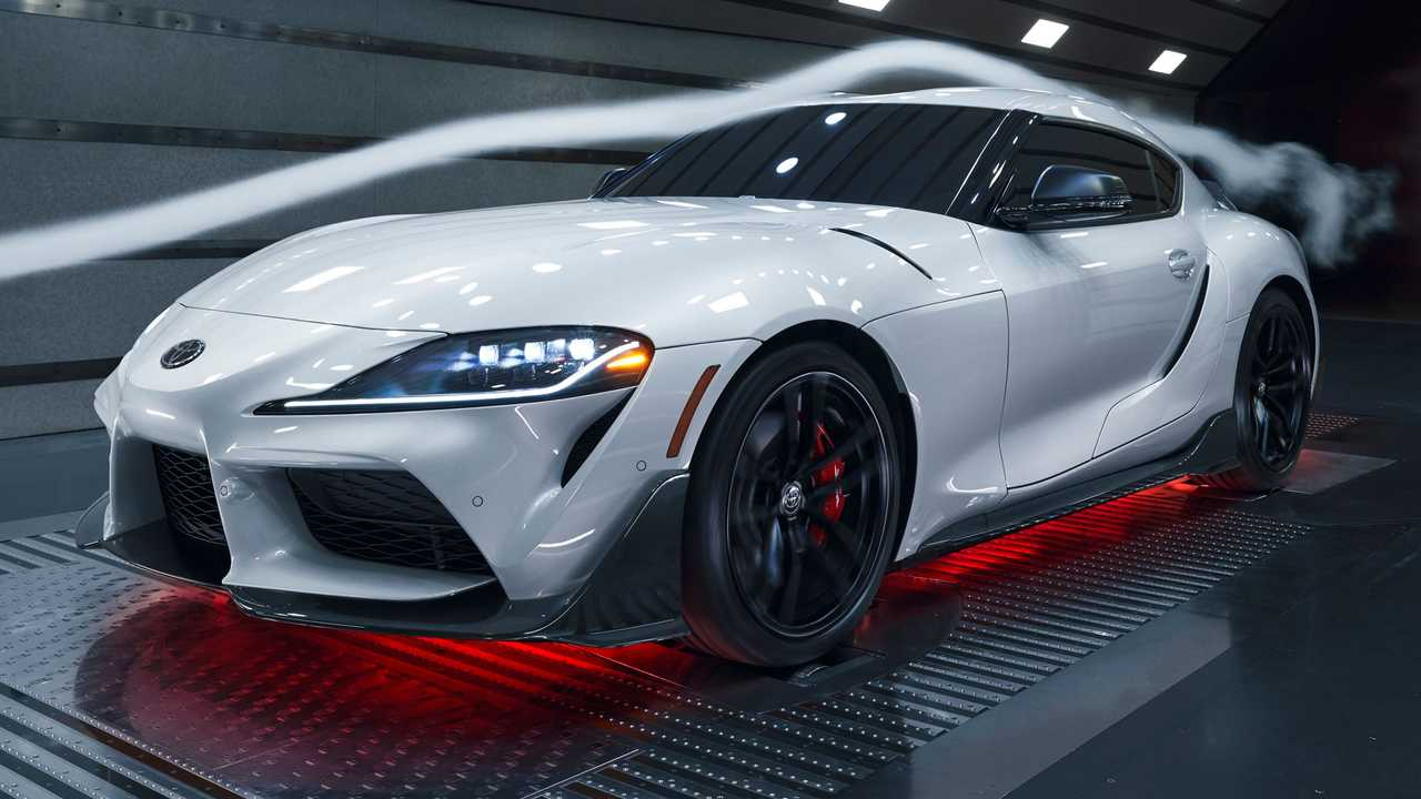 A profile view of the 2022 Toyota Supra CF Edition.