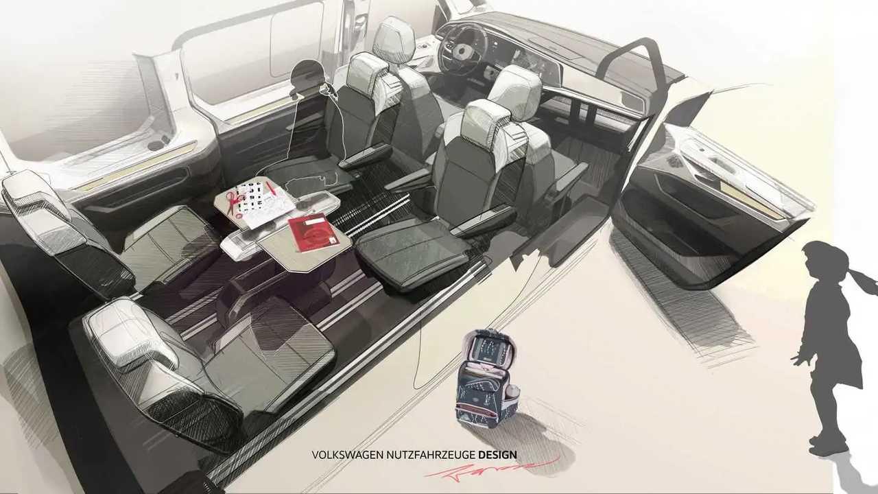 VW T7 Multivan (2021) Designskizze Innenraum mit neuem Tisch