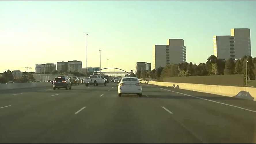 TeslaCam Captures Pickup Truck Driver Veer And Swerve Out Of Control
