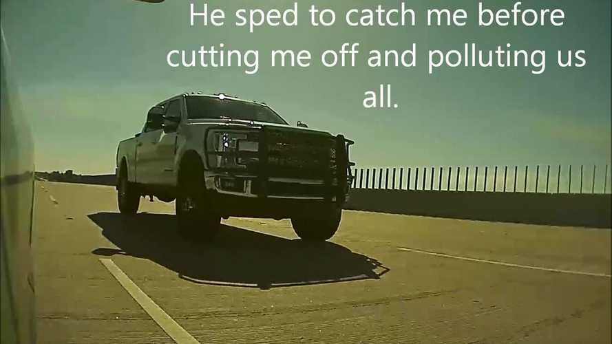 Watch Ford Pickup Truck Cut Off And Coal Roll A Tesla