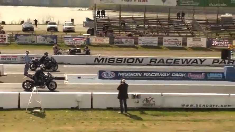 Watch This Hayabusa Repeatedly Beat An H2 At The Strip