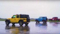 Una original carrera de aceleración entre un Suzuki Jimny, un Jeep Wrangler y un Bowler Bulldog