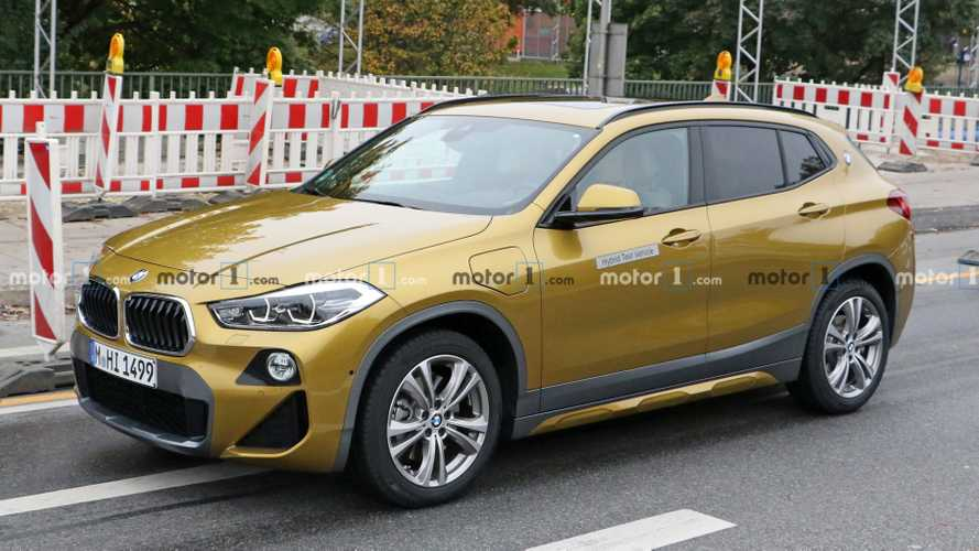 BMW X2 PHEV spied trying to hide its revised nose