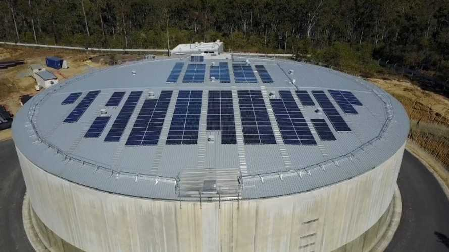 Solar array on the water reservoir