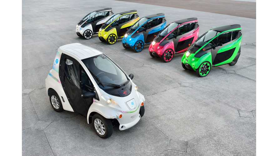 Colourful Carsharing Fleet Of Toyota i-Road and COMS in Grenoble