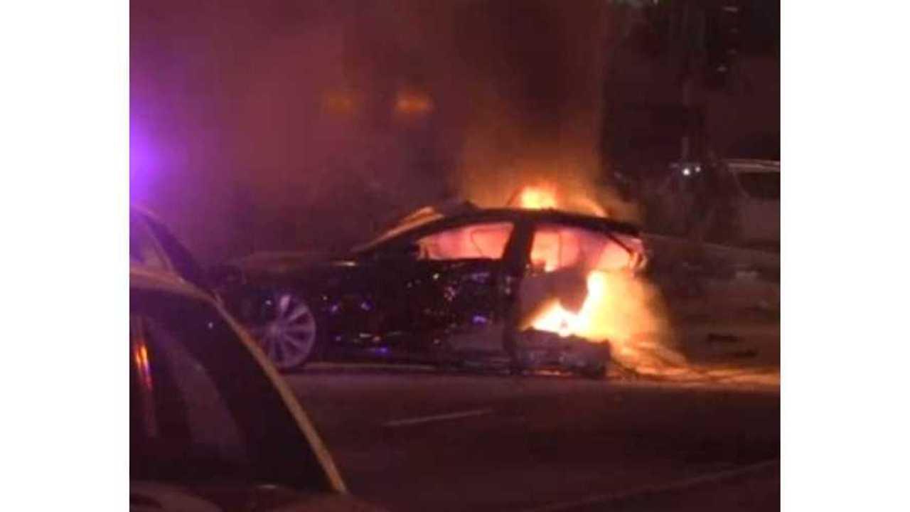 Stolen Tesla Model S Crashes, Gets Cut In Half, Goes Up In Flames - Video - Updates
