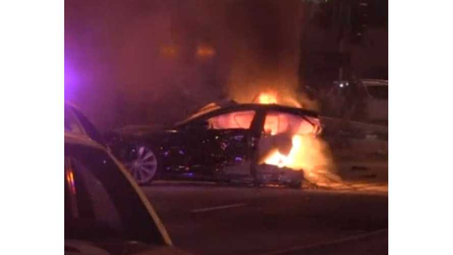 Stolen Tesla Model S Crashes, Gets Cut In Half, Goes Up In Flames - Video - Updates