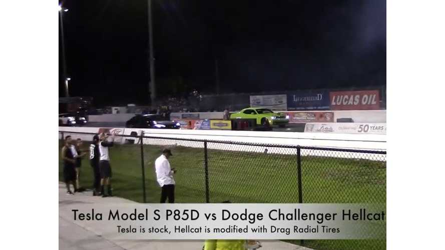 Tesla Model S P85D Versus Dodge Challenger Hellcat - The Rematch Video