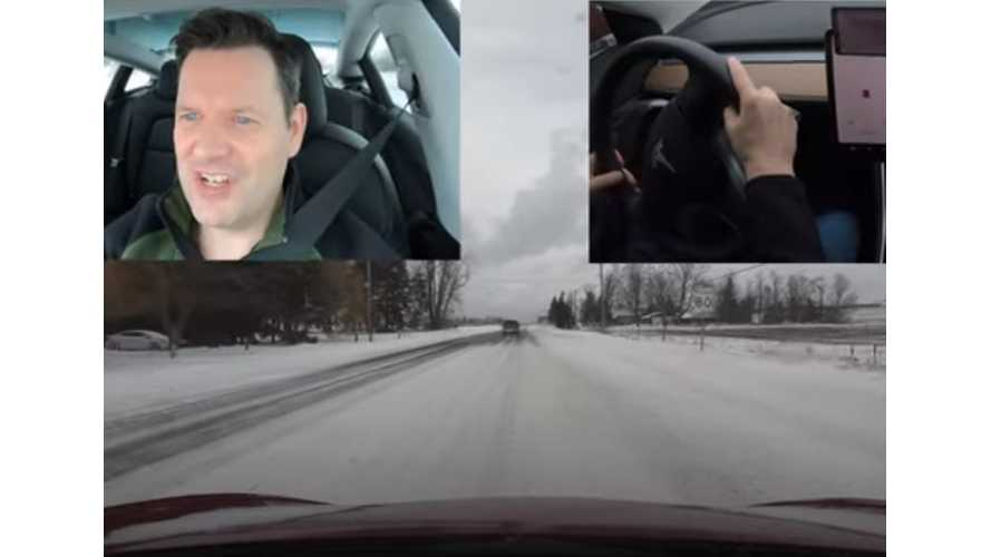 Tesla Model 3 Versus Snow Drift On Two-Lane Highway: Video