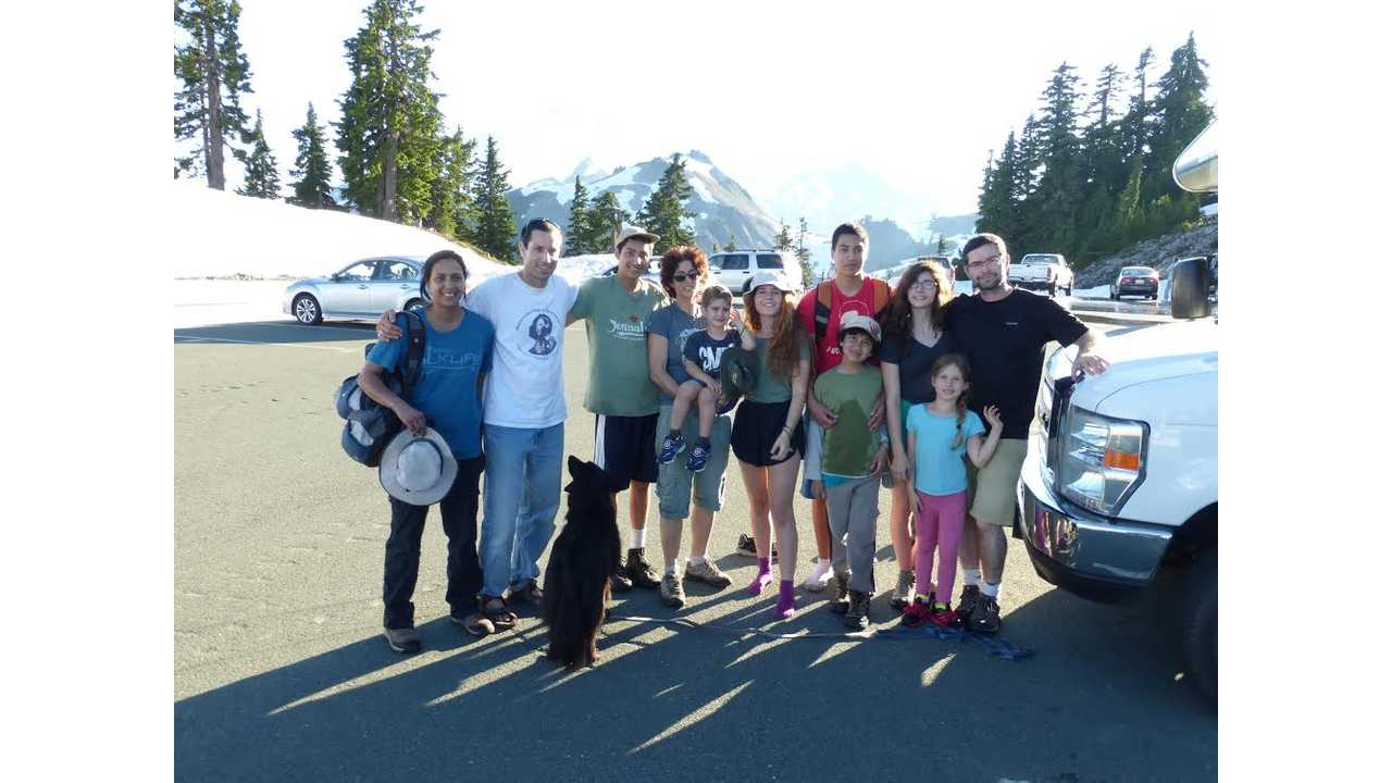 Group photo near the RV; Mt. Baker got burnt out of the background