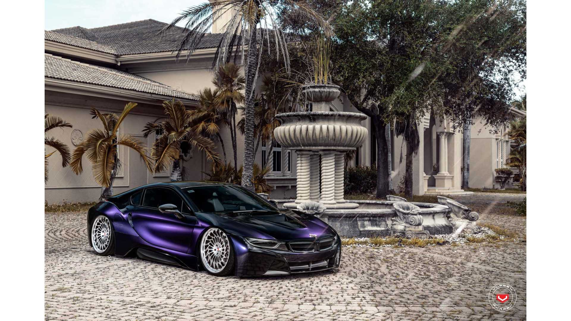 A Funky Future Bmw I8 With Vossen Wheels And Purple Wrap