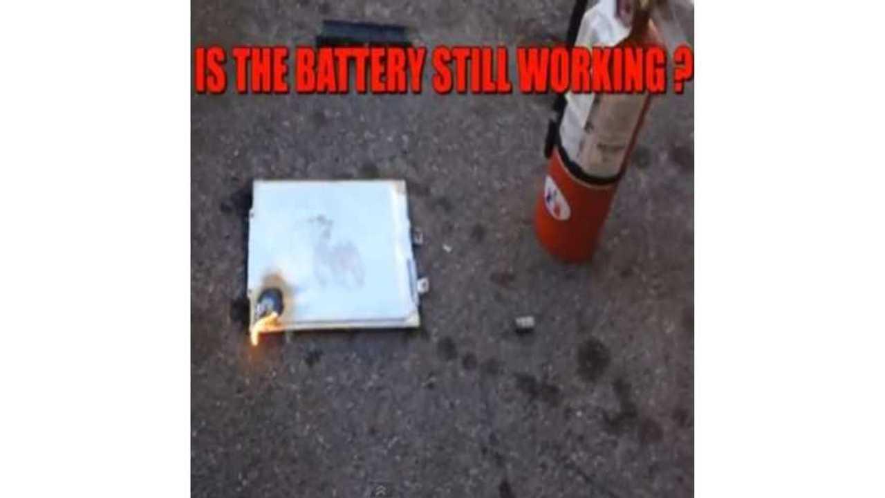 Nissan LEAF Battery Cell Destruction Video - NO FIRE - Just A Little Smoke