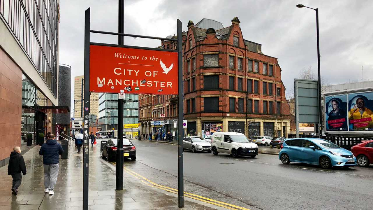 City of Manchester  Northern England public welcome sign