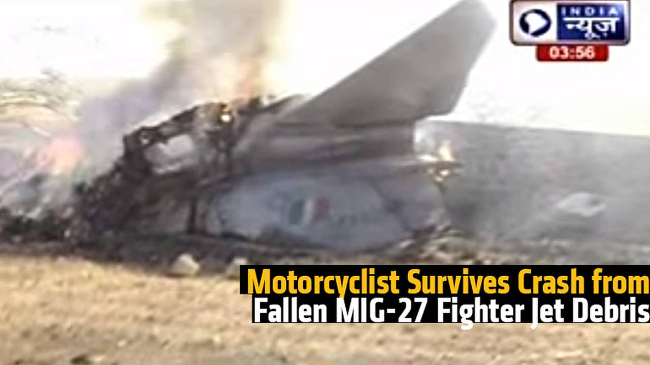 Motorcyclist Survives Crash from Fallen MIG-27 Fighter Jet Debris