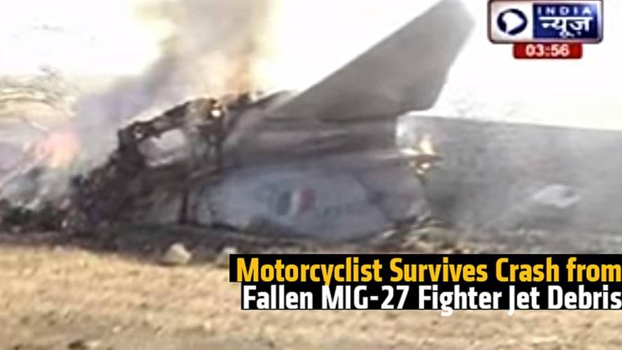 Motorcyclist Survives Crash from Fallen MIG-27 Fighter Jet Debris