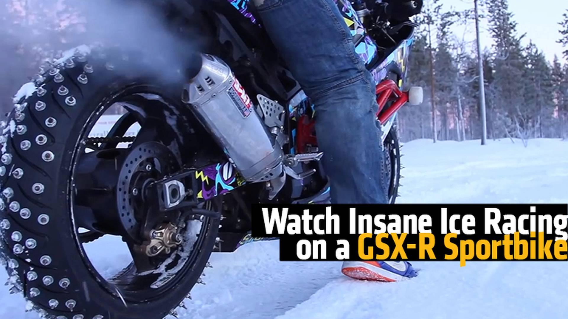 Watch Insane Ice Racing On A Suzuki Sportbike