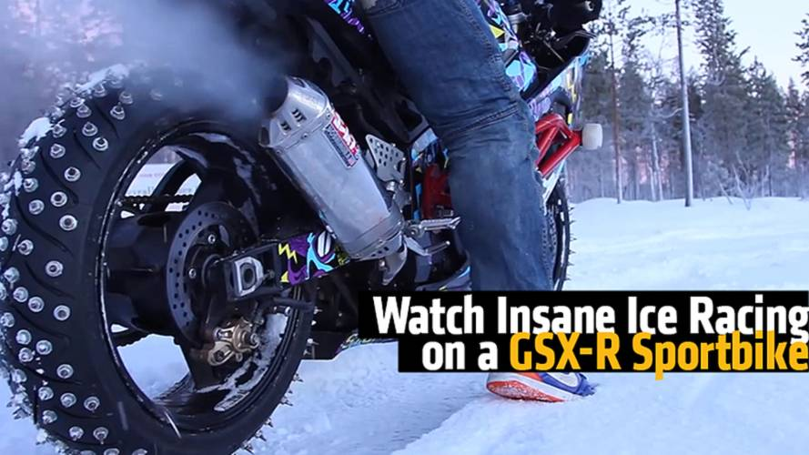 Watch Insane Ice Racing on a Suzuki Sportbike