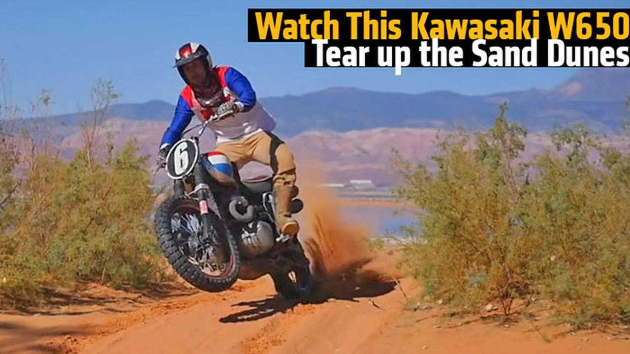 Watch This Kawasaki W650 Tear up the Sand Dunes