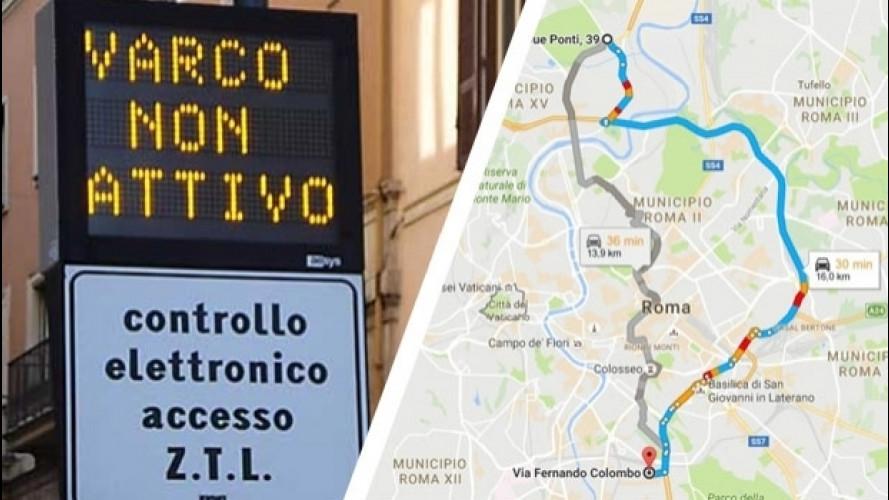 """Google Maps, il """"bug"""" delle ZTL di Roma"""