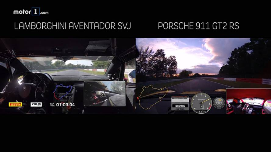 See Aventador SVJ, 911 GT2 RS Record 'Ring Videos Side By Side