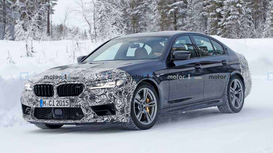 BMW M5 facelift drops some camo in new spy shots