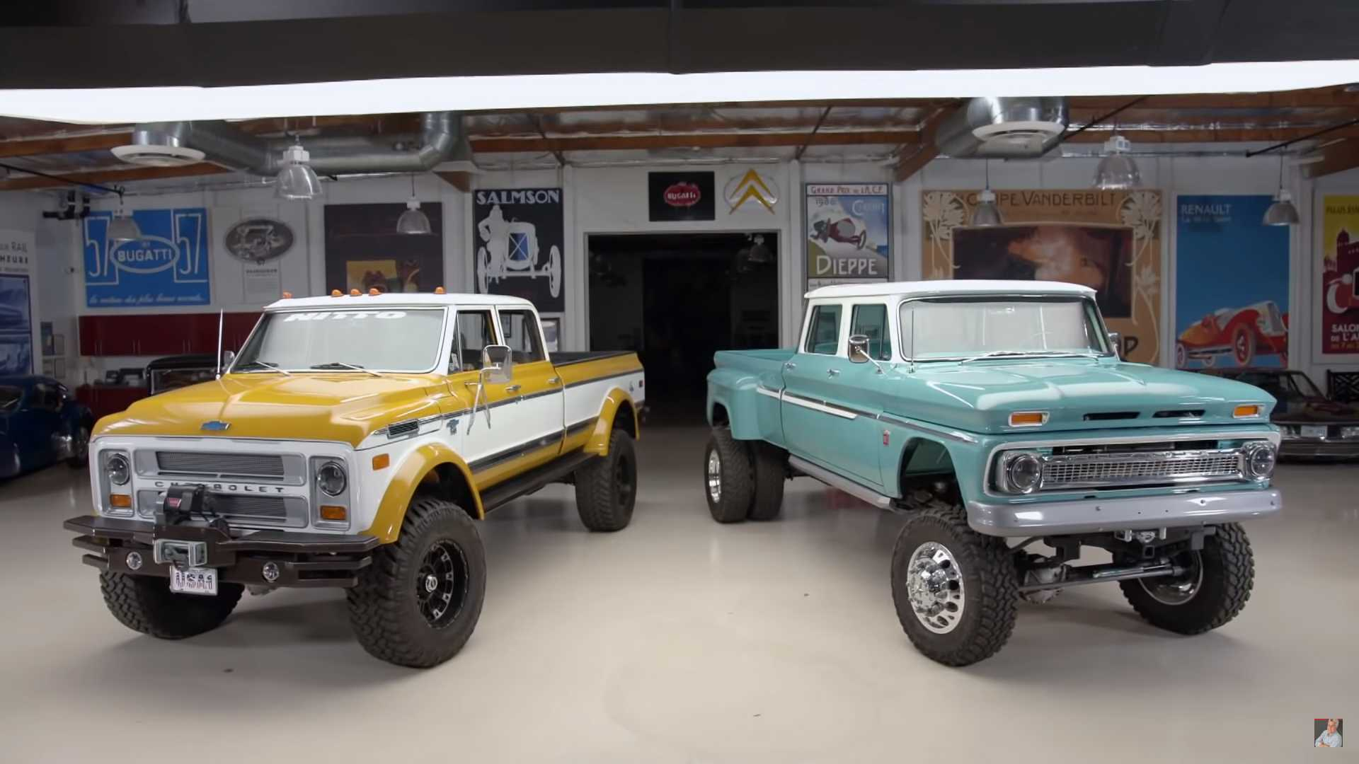 Lifted Chevy Restomod Trucks Tower Over Jay Leno S Garage