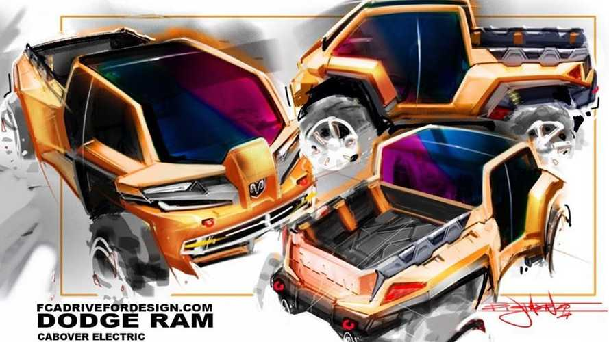 This Rendered Ram Electric Pickup Truck Features A Rad Cab-Over Design