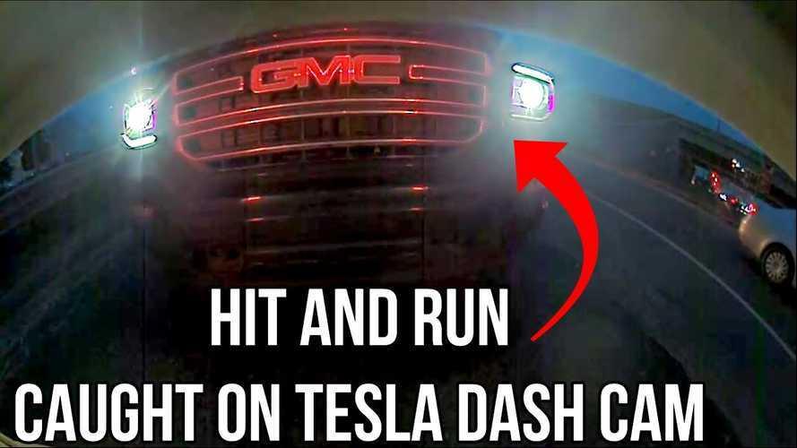 Watch GMC Pickup Truck Smash Into Rear Of Tesla Model 3 Then Flee