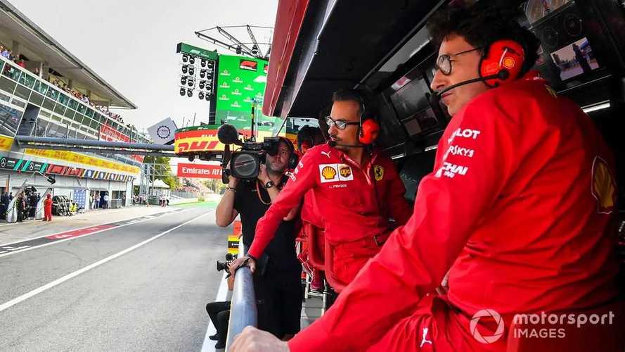 Laurent Mekies and Mattia Binotto on the Ferrari pit wall at Italian GP 2019