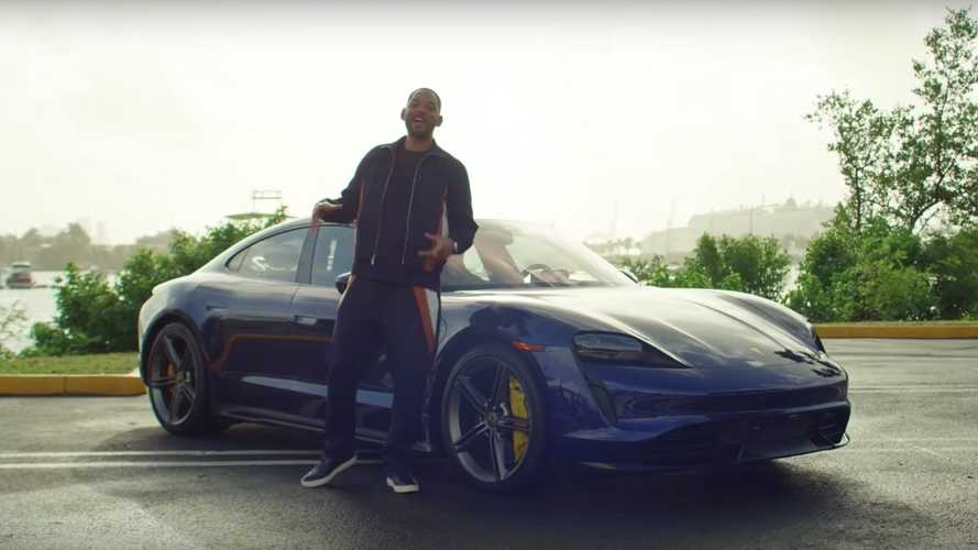 Will Smith, chófer en un Porsche Taycan Turbo S