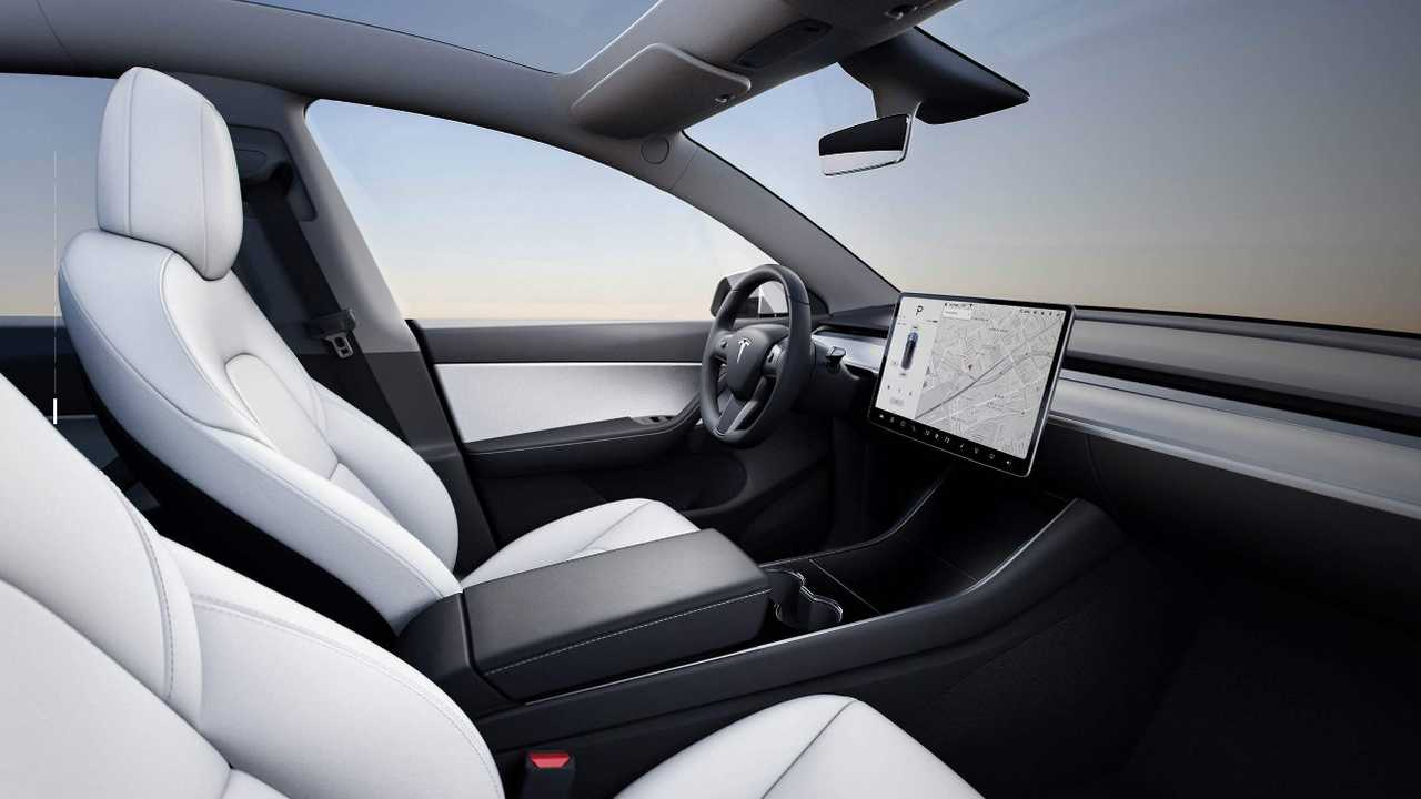 White Tesla Model Y With Interior