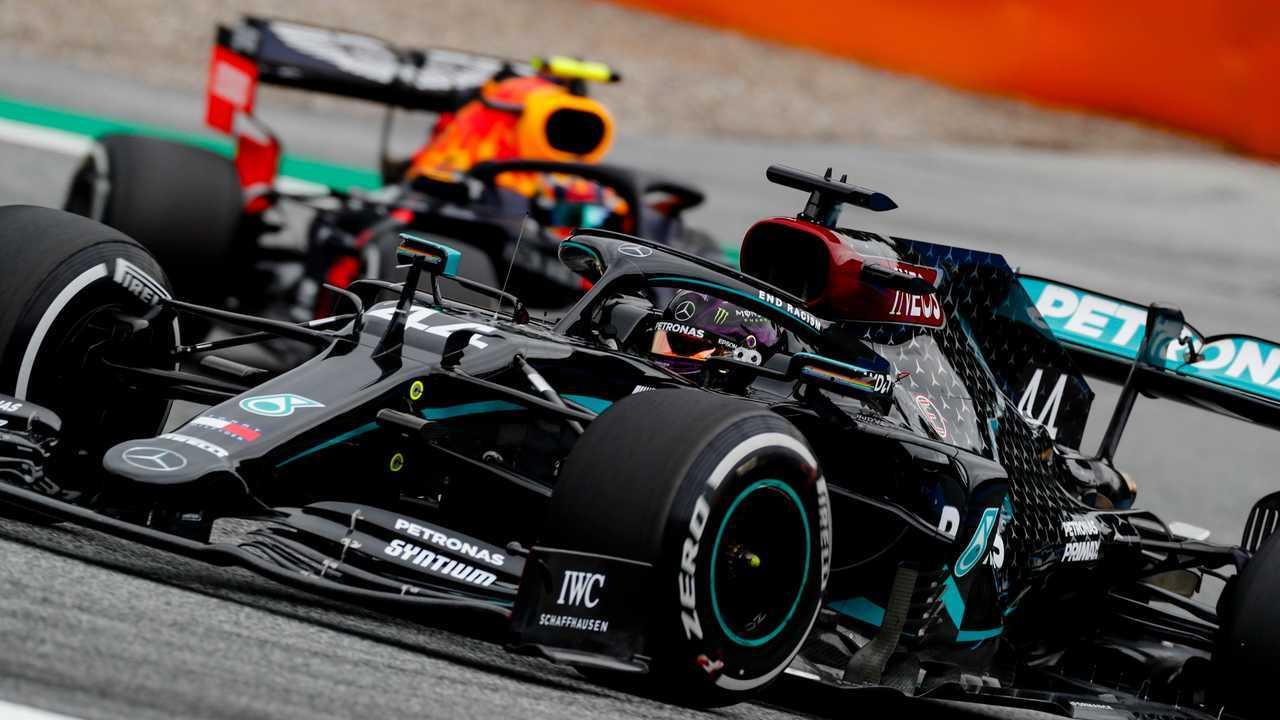 Lewis Hamilton, Mercedes F1 W11 and Alex Albon, Red Bull Racing RB16