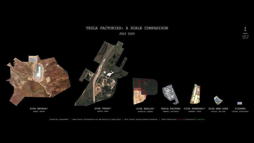 Сравните размеры гигафабрик Tesla и удивитесь габаритам техасского завода