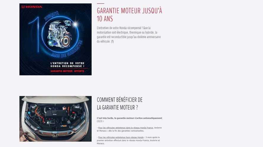 Garantie 10 ans Honda